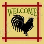 Welcome  Rooster Stencil - Reusable Stencil - Plaid stencils -8790