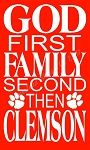 ITEM 8093- God First Family Second Then Clemson - Reusable Primitive Stencil For Signs - Make your own Wooden sign