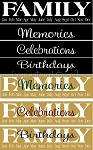 Family Birthday 4 pc  Stencil- Reusable Sign Birthday Stencils- 6051