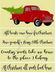 Vintage Truck Set Christmas Stencil and phrases-  Reusable Sign Stencils- 8129