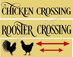 3PC Chicken - Rooster Crossing  STENCIL SET - Reusable Sign Stencils- Item 8847