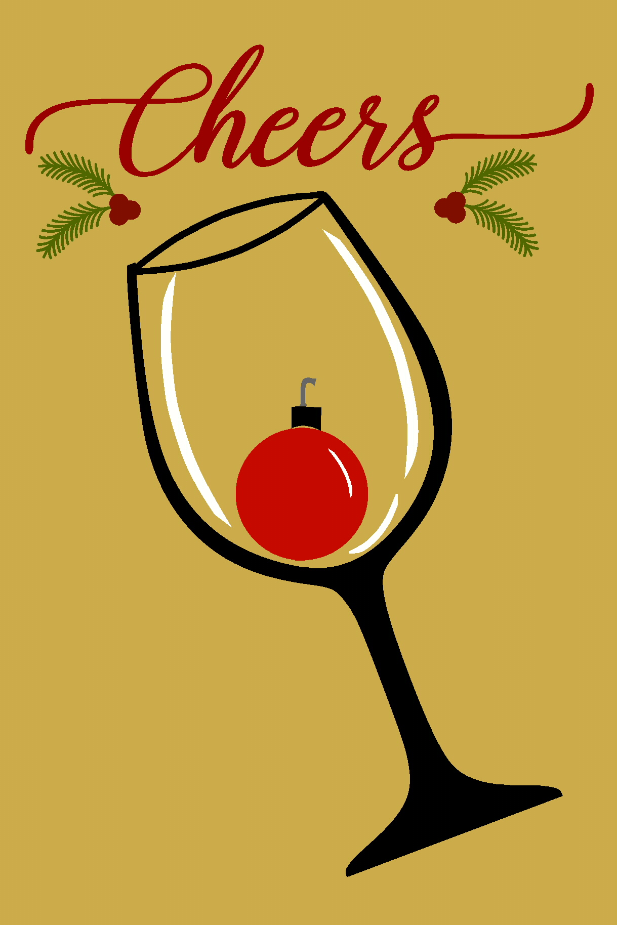 Cheers Wine Glass Christmas Ornament