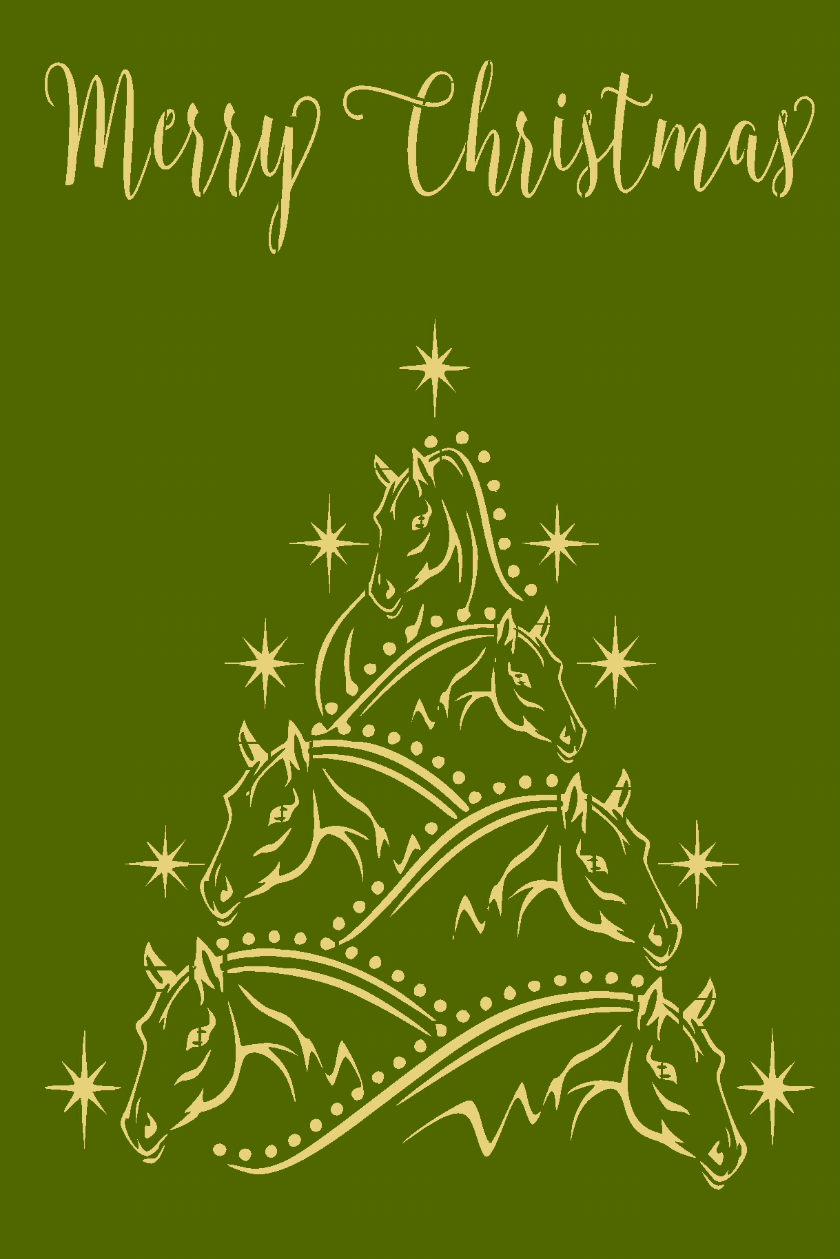 Merry Christmas Horse Tree Reusable Plastic Stencil Sign Stencils