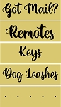 5 pc Set Remote, Got mail, Keys, Dog Leashes, spacer