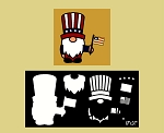 Gnome Uncle Sam Americana With flag