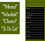 Menu Schedule Chores To Do List  Interchangeable Set