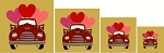 4 Pc Valentine VINTAGE RED Truck Set