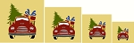 4 Pc Christmas VINTAGE RED Truck Set