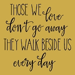 Those we love don't go away they walk beside us every day