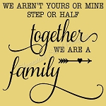 We aren't yours or mine, step or half together we are family