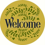 Welcome  with laurel berry door hanger