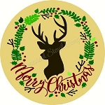Merry Christmas with Buck Head  DOOR HANGER
