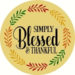 Simply Blessed & Thankful  DOOR HANGER
