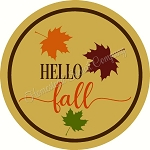 Hello Fall With Leaves  for Door Hanger