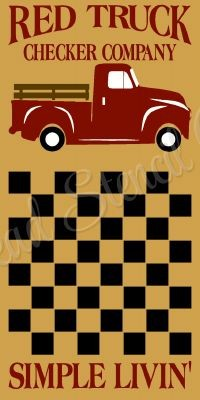 Vintage Red Truck Checker board